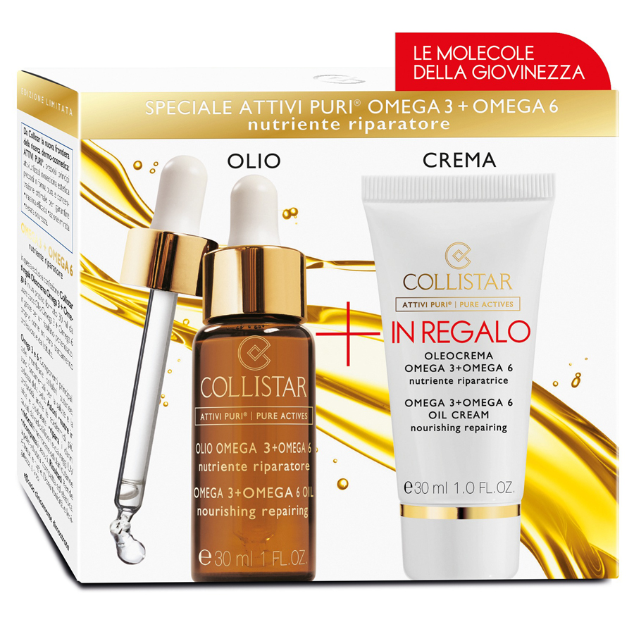 Collistar Kit Attivi Puri Olio Omega 3+6 30 ml + IN REGALO Olio Crema 30 ml