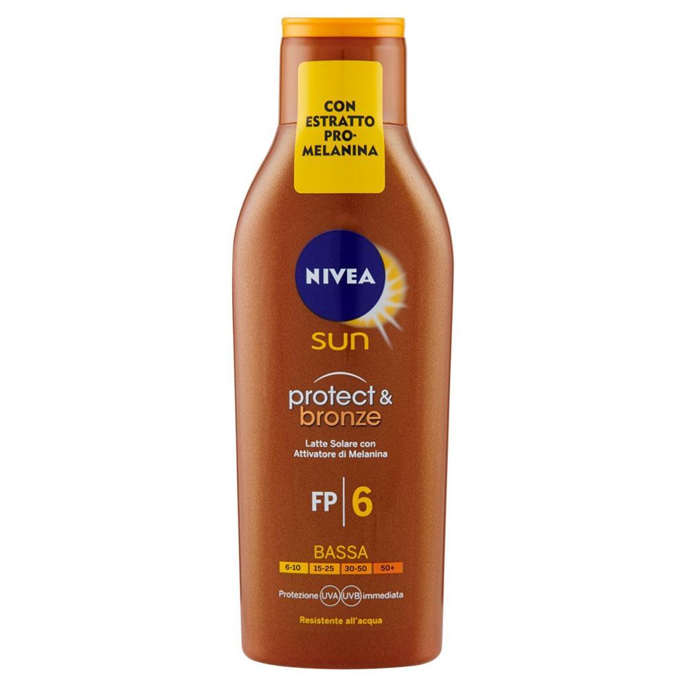 Nivea Protect & Bronze Latte Solare con Attivatore di Melanina SPF6 200 ml