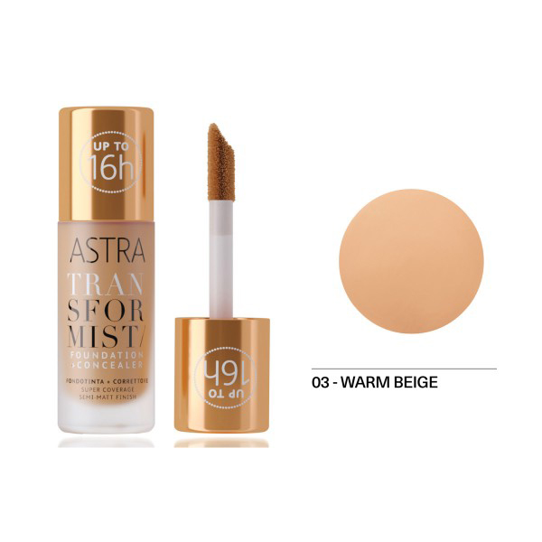 Astra Transformist Foundation + Concealer n. 03 warm Beige